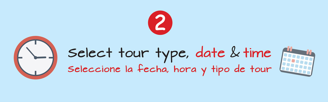 Select tour type, date & time